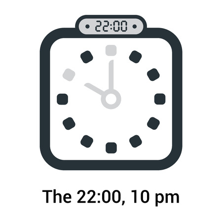 The 22:00, 10 pm icon isolated on white background, clock and watch, timer, countdown symbol, stopwatch, digital timer vector icon