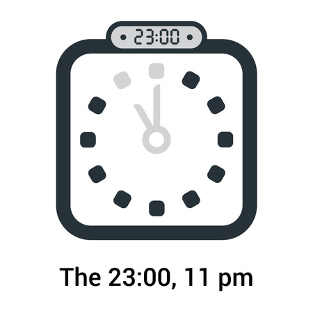 The 23:00, 11 pm icon isolated on white background, clock and watch, timer, countdown symbol, stopwatch, digital timer vector icon Stock Illustratie