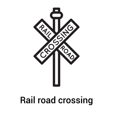 Rail road crossing cross signal icon vector isolated on white background for your web and mobile app design, Rail road crossing cross signal logo concept Vectores