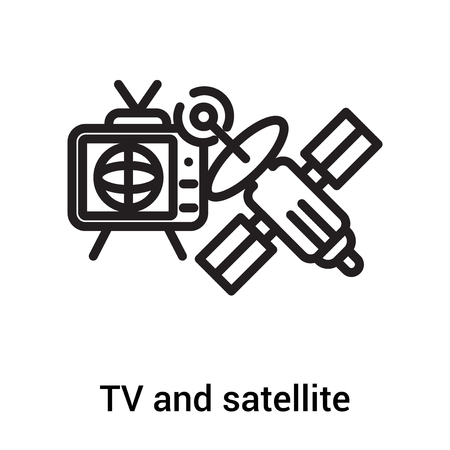 TV and satellite icon vector isolated on white background for your web and mobile app design, TV and satellite logo concept Çizim