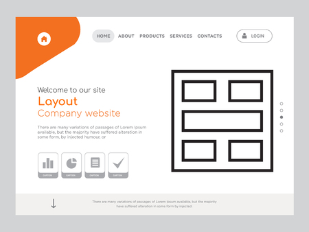 Quality One Page Layout Website Template Vector  , Modern Web Design with landscape illustration, ideal for landing page, Layout icon