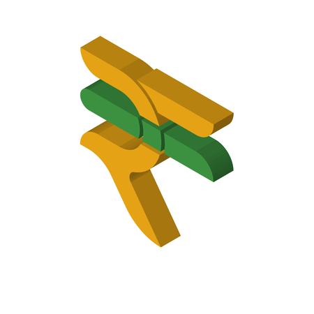 rupees isometric right top view 3D icon Stock Illustratie