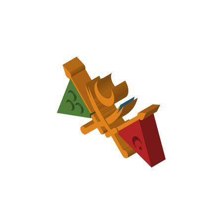empire ottoman isométrique vue de dessus droite icône 3D Vecteurs