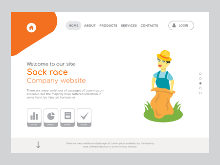 Quality One Page Sack race Website Template Vector Eps, Modern Web Design with landscape illustration, ideal for landing page, Sack race icon