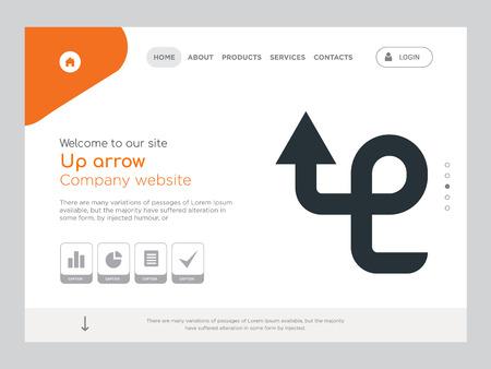 Kwaliteit één pagina omhoog pijl Website sjabloon Vector Eps, modern webdesign met landschap illustratie, ideaal voor bestemmingspagina, pijl omhoog pictogram