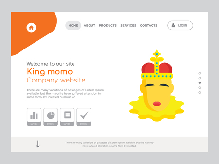 Quality One Page King momo Website Template Vector Eps, Modern Web Design with landscape illustration, ideal for landing page, King momo icon