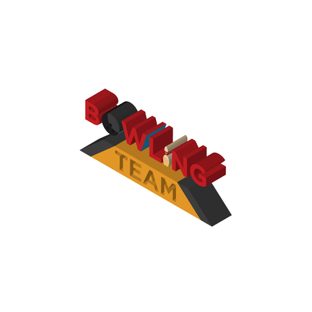 bowling team isometric right top view 3D icon Illustration
