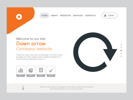 Quality One Page Down arrow Website Template Vector Eps, Modern Web Design with landscape illustration, ideal for landing page, Down arrow icon Stock Illustratie
