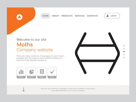 Quality One Page Maths Website Template Vector Eps, Modern Web Design with landscape illustration, ideal for landing page, Maths icon