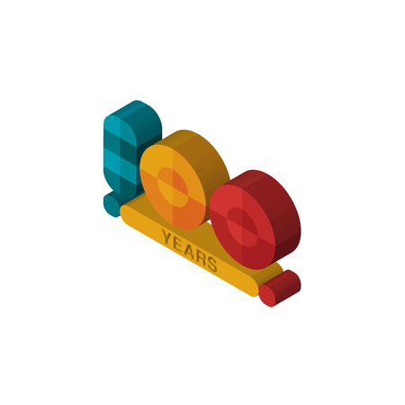 100 year isometric right top view 3D icon
