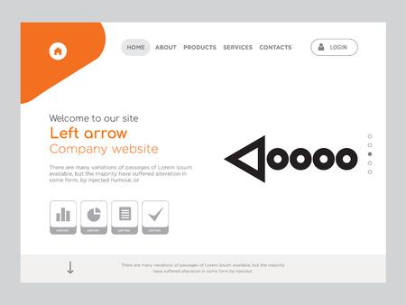 Kwaliteit één pagina Pijl naar links Website sjabloon Vector Eps, modern webdesign met landschapsillustratie, ideaal voor bestemmingspagina, pijl naar links