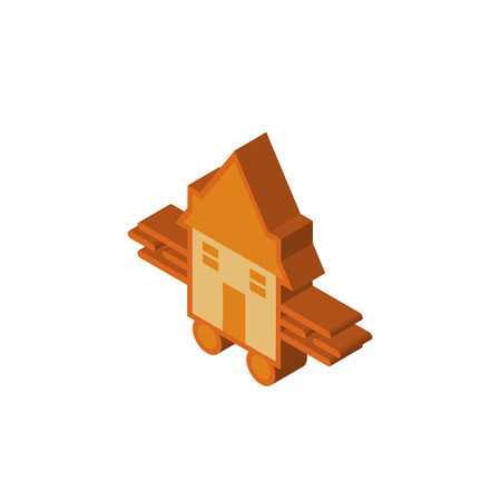 tiny house isometric right top view 3D icon