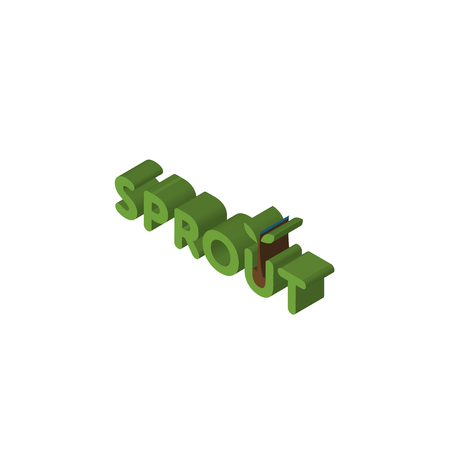 sprout isometric right top view 3D icon Çizim