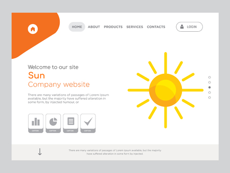 Quality One Page Sun Website Template Vector  , Modern Web Design with landscape illustration, ideal for landing page, Sun icon