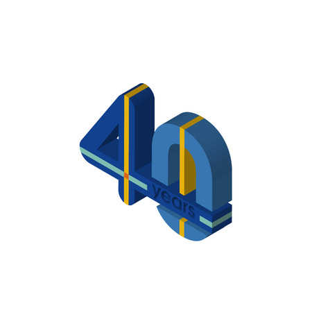 40 years isometric right top view 3D icon Çizim