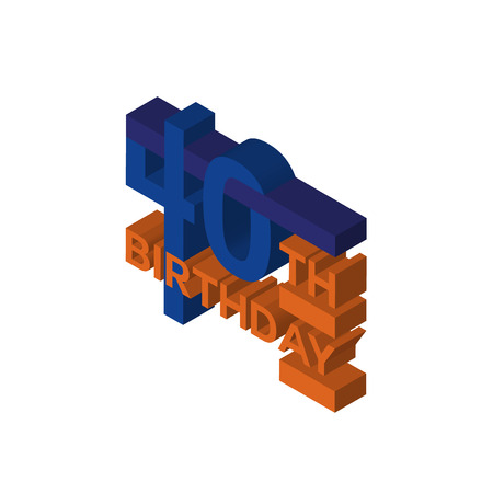 40th birthday isometric right top view 3D icon