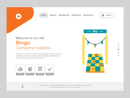 Quality One Page Bingo Website Template Vector Eps, Modern Web Design with landscape illustration, ideal for landing page, Bingo icon
