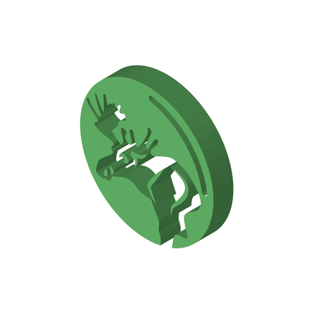 moose isometric right top view 3D icon 일러스트
