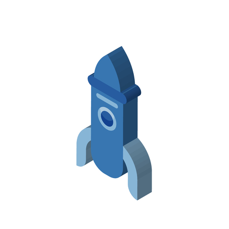 Rocket isometric right top view 3D icon
