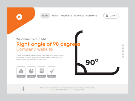 Quality One Page Right angle of 90 degrees Website Template Vector Eps, Modern Web Design with landscape illustration, ideal for landing page, Right angle of 90 degrees icon Illustration