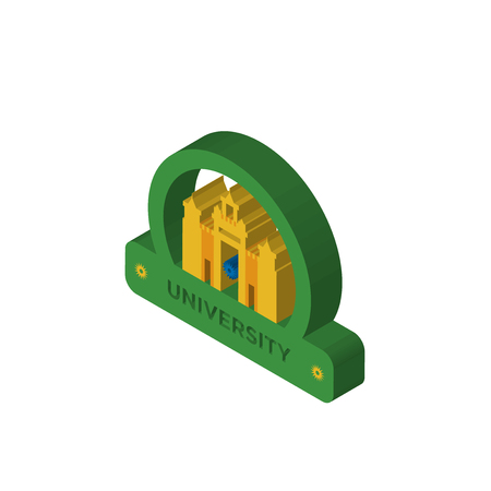 university isometric right top view 3D icon