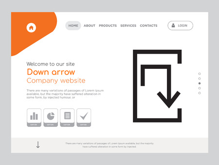 Quality One Page Down arrow Website Template Vector Eps, Modern Web Design with landscape illustration, ideal for landing page, Down arrow icon Stockfoto - 114867047