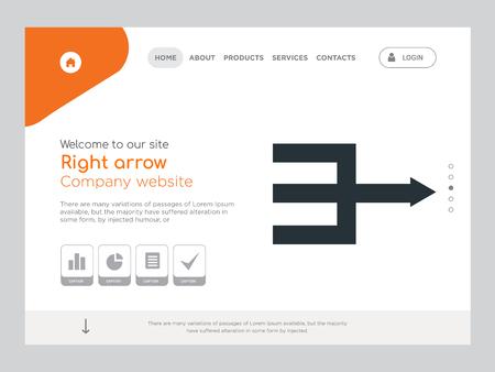 Kwaliteit één pagina Pijl naar rechts Website sjabloon Vector Eps, modern webdesign met landschapsillustratie, ideaal voor bestemmingspagina, pictogram met pijl naar rechts