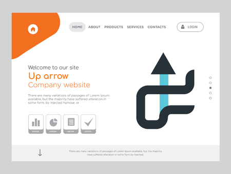 Quality One Page Up arrow Website Template Vector Eps, Modern Web Design with landscape illustration, ideal for landing page, Up arrow icon Stockfoto - 104975843
