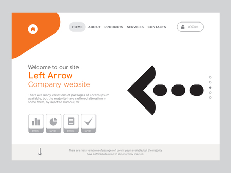 Quality One Page Left Arrow Website Template Vector Eps, Modern Web Design with landscape illustration, ideal for landing page, Left Arrow icon Stock Illustratie