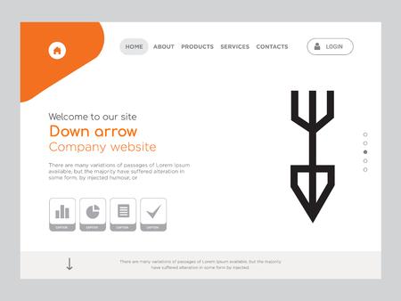 Kwaliteit één pagina omlaag pijl Website sjabloon Vector Eps, modern webdesign met landschapsillustratie, ideaal voor bestemmingspagina, pijl omlaag