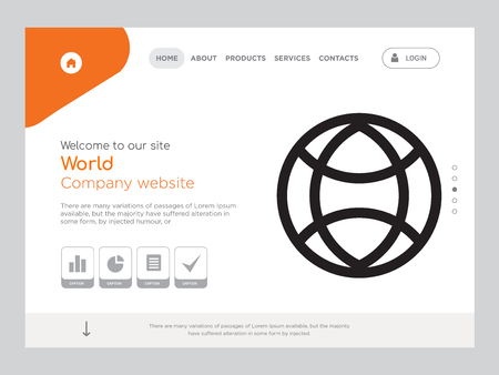 Quality One Page World Website Template Vector Eps, Modern Web Design with landscape illustration, ideal for landing page, World icon Иллюстрация