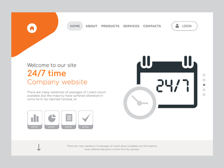 Quality One Page 24/7 time Website Template Vector Eps, Modern Web Design with landscape illustration, ideal for landing page, 24/7 time icon