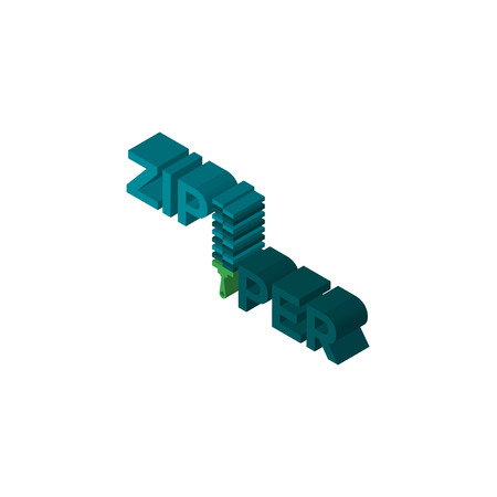 zipper isometric right top view 3D icon
