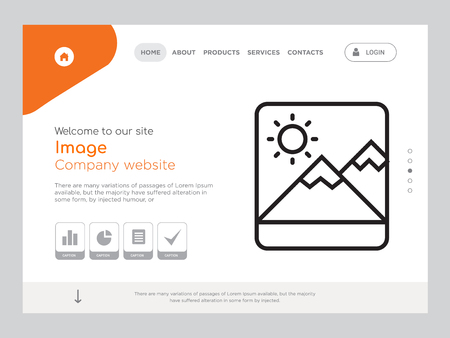 Quality One Page Image Website Template Vector Eps, Modern Web Design with landscape illustration, ideal for landing page, Image icon Ilustração