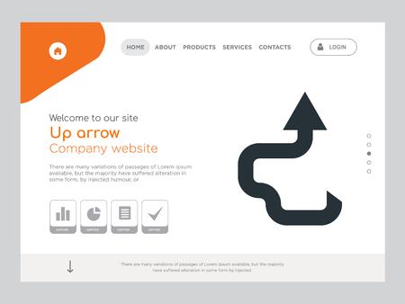 Modèle de site Web de qualité une page vers le haut vecteur Eps, conception Web moderne avec illustration de paysage, idéal pour la page de destination, icône de la flèche vers le haut