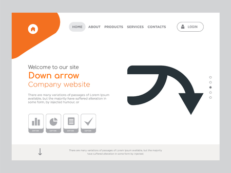 Quality One Page Down arrow Website Template Vector Eps, Modern Web Design with landscape illustration, ideal for landing page, Down arrow icon