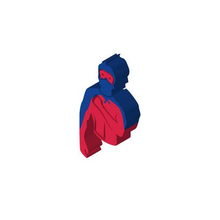 generic superhero isometric right top view 3D icon