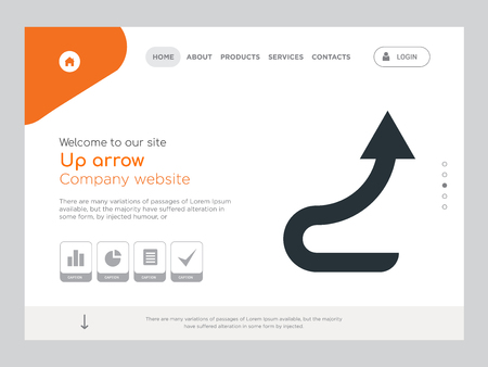 Quality One Page Up arrow Website Template Vector Eps, Modern Web Design with landscape illustration, ideal for landing page, Up arrow icon