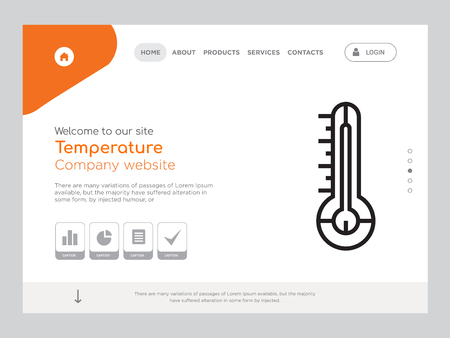 Quality One Page Temperature Website Template Vector Eps, Modern Web Design with landscape illustration, ideal for landing page, Temperature icon