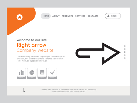 Quality One Page Right arrow Website Template Vector Eps, Modern Web Design with landscape illustration, ideal for landing page, Right arrow icon Vector Illustratie