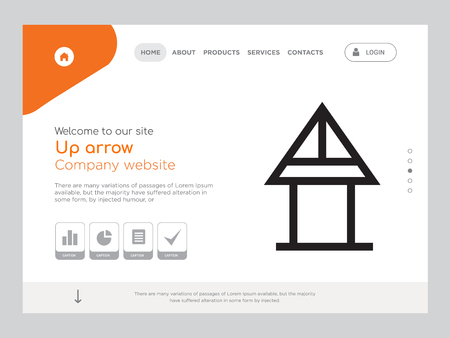 Quality One Page Up arrow Website Template Vector Eps, Modern Web Design with landscape illustration, ideal for landing page, Up arrow icon Stockfoto - 104976664