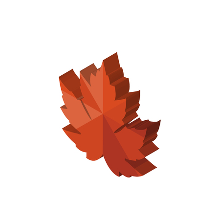 maple leaf isometric right top view 3D icon