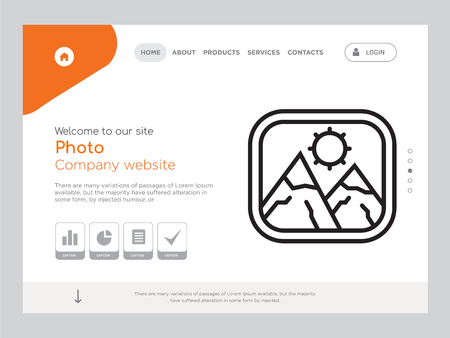 Quality One Page Photo Website Template Vector Eps, Modern Web Design with landscape illustration, ideal for landing page, Photo icon Foto de archivo - 104976671