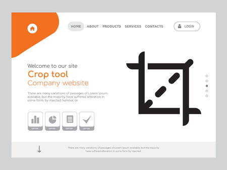 Quality One Page Crop tool Website Template Vector Eps, Modern Web Design with landscape illustration, ideal for landing page, Crop tool icon