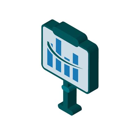 Diagram isometric right top view 3D icon Ilustração