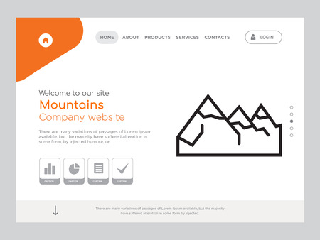 Quality One Page Mountains Website Template Vector Eps, Modern Web Design with landscape illustration, ideal for landing page, Mountains icon Ilustrace