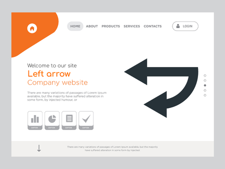 Quality One Page Left arrow Website Template Vector Eps, Modern Web Design with landscape illustration, ideal for landing page, Left arrow icon Vector Illustratie