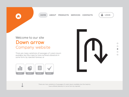 Quality One Page Down arrow Website Template Vector Eps, Modern Web Design with landscape illustration, ideal for landing page, Down arrow icon Stockfoto - 105064690