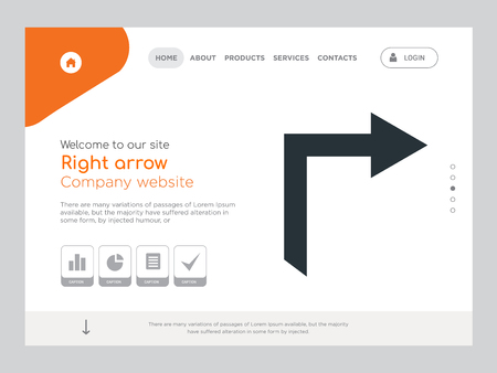 Quality One Page Right arrow Website Template Vector Eps, Modern Web Design with landscape illustration, ideal for landing page, Right arrow icon