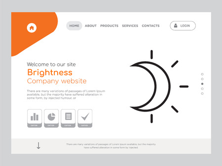 Quality One Page Brightness Website Template Vector Eps, Modern Web Design with landscape illustration, ideal for landing page, Brightness icon
